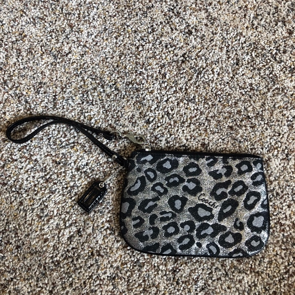 Coach Handbags - Coach Mini Wristlet Black Cheetah Print